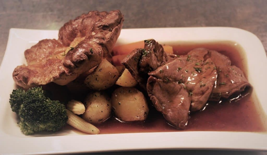 Sunday roast beef dinner on a plate