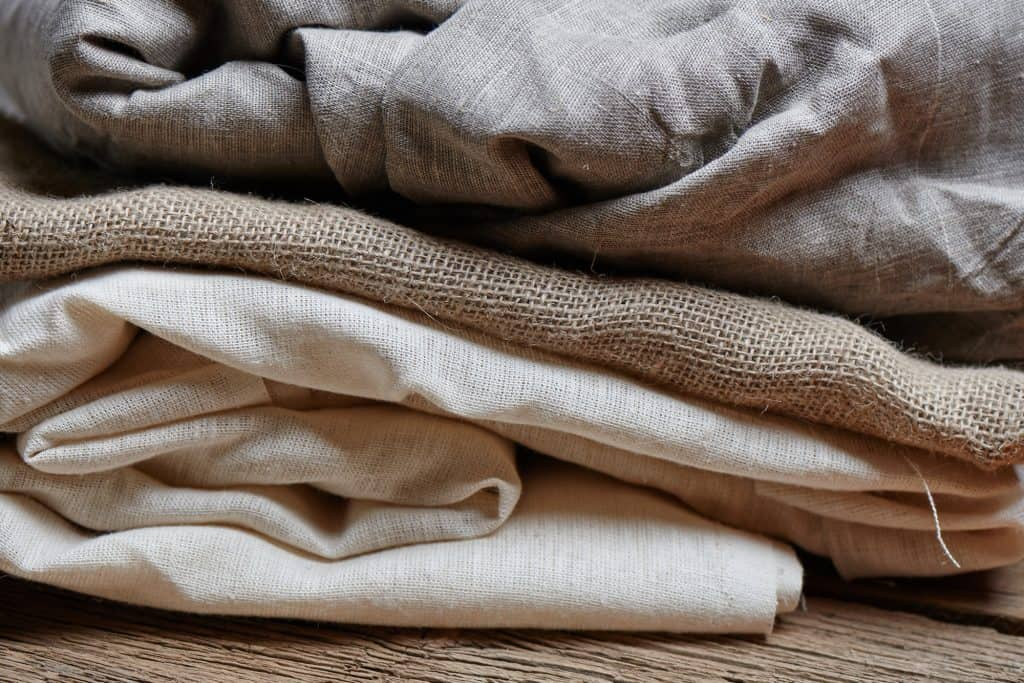 folded natural cotton and fabric textiles