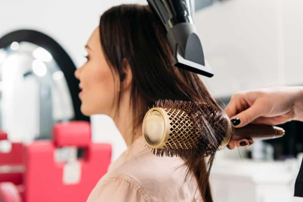 ionic hair brush in a salon