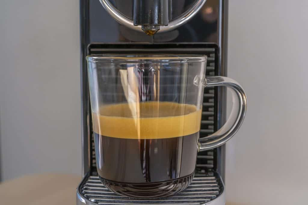 making coffee with a small coffee machine