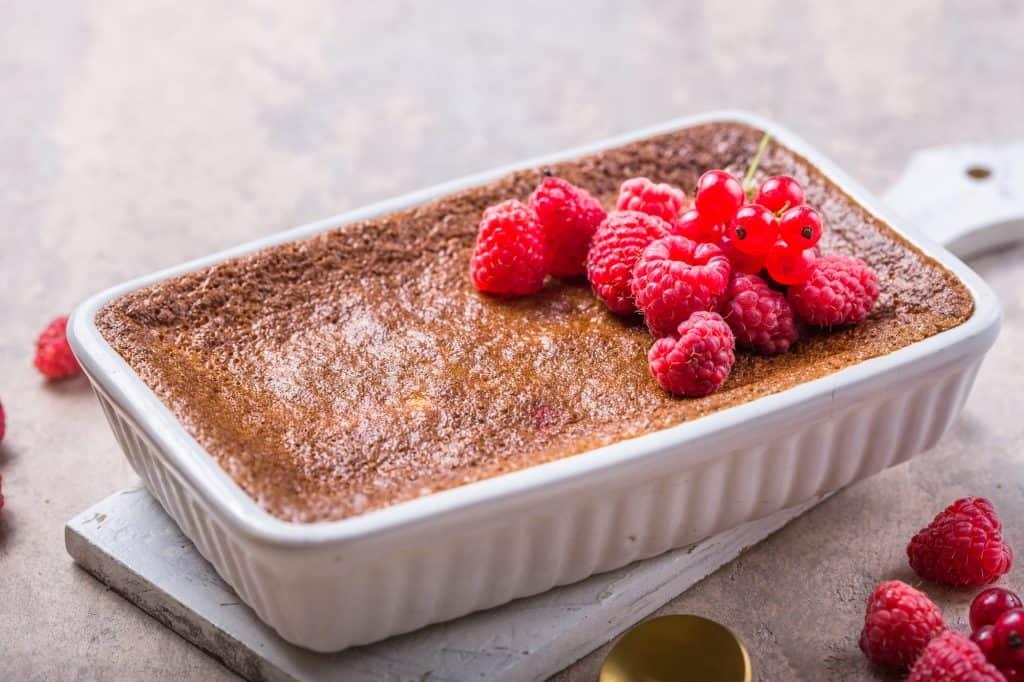 vegan rice pudding with raspberries