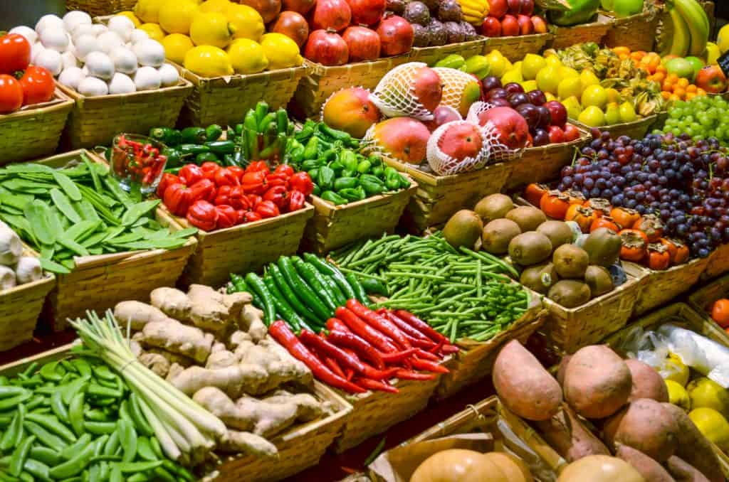 fresh fruits and vegetables in a supermarket